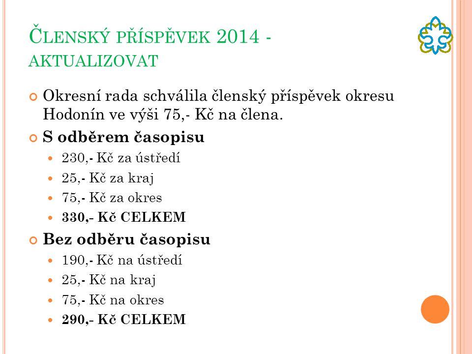 Č LENSKÝ PŘÍSPĚVEK 2014 - AKTUALIZOVAT Okresní rada schválila členský příspěvek okresu Hodonín ve výši 75,- Kč na člena.