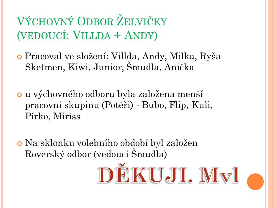 V ÝCHOVNÝ O DBOR Ž ELVIČKY ( VEDOUCÍ : V ILLDA + A NDY ) Pracoval ve složení: Villda, Andy, Milka, Ryša Sketmen, Kiwi, Junior, Šmudla, Anička u výchovného odboru byla založena menší pracovní skupinu (Potěři) - Bubo, Flip, Kuli, Pírko, Miriss Na sklonku volebního období byl založen Roverský odbor (vedoucí Šmudla)