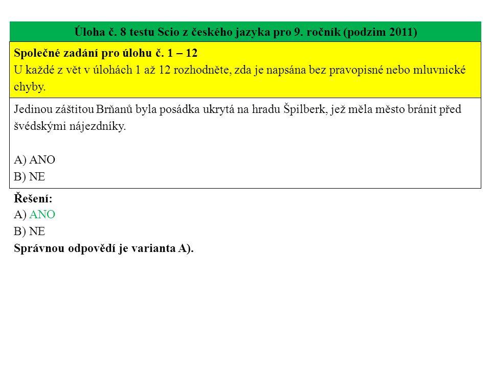 Úloha č. 8 testu Scio z českého jazyka pro 9. ročník (podzim 2011) Jedinou záštitou Brňanů byla posádka ukrytá na hradu Špilberk, jež měla město bráni