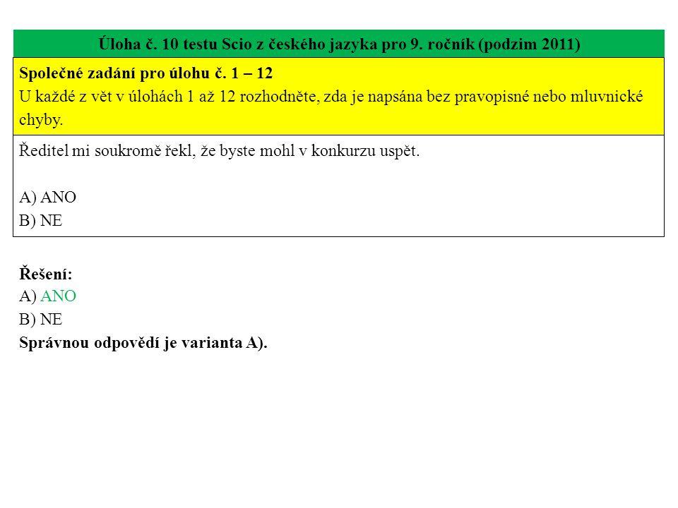 Úloha č. 10 testu Scio z českého jazyka pro 9. ročník (podzim 2011) Ředitel mi soukromě řekl, že byste mohl v konkurzu uspět. A) ANO B) NE Řešení: A)