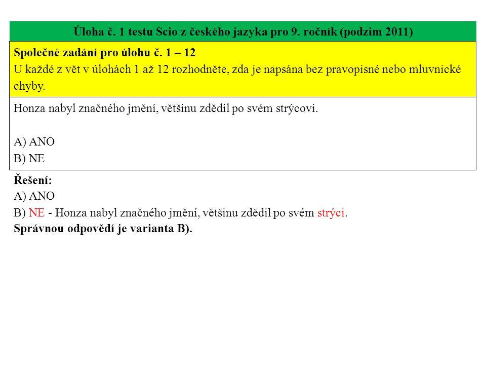 Úloha č. 1 testu Scio z českého jazyka pro 9. ročník (podzim 2011) Honza nabyl značného jmění, většinu zdědil po svém strýcovi. A) ANO B) NE Řešení: A