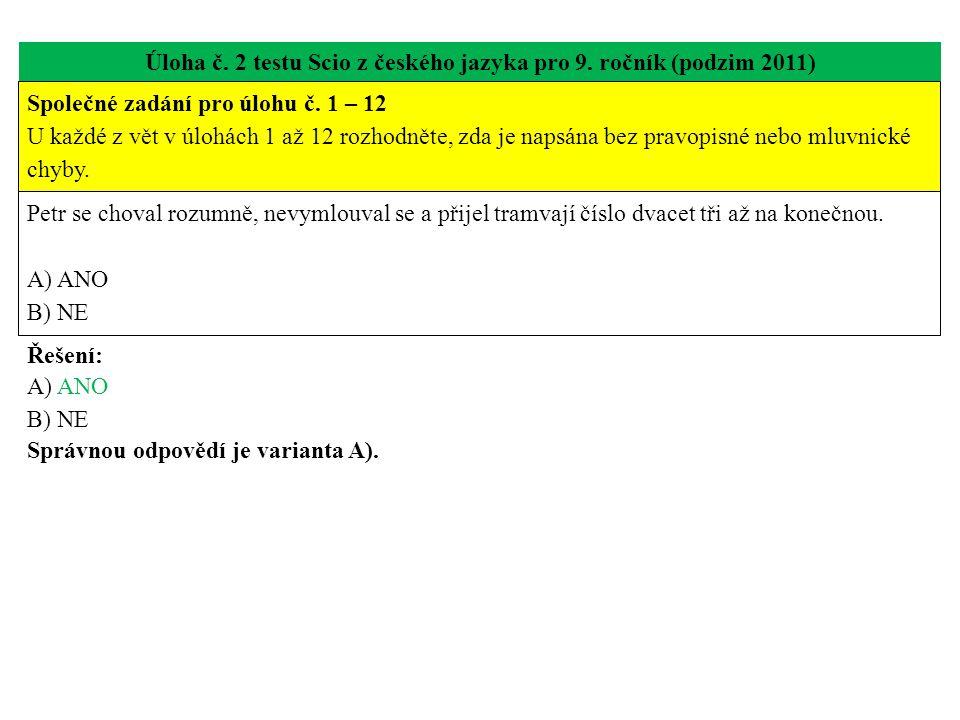 Úloha č. 2 testu Scio z českého jazyka pro 9. ročník (podzim 2011) Petr se choval rozumně, nevymlouval se a přijel tramvají číslo dvacet tři až na kon