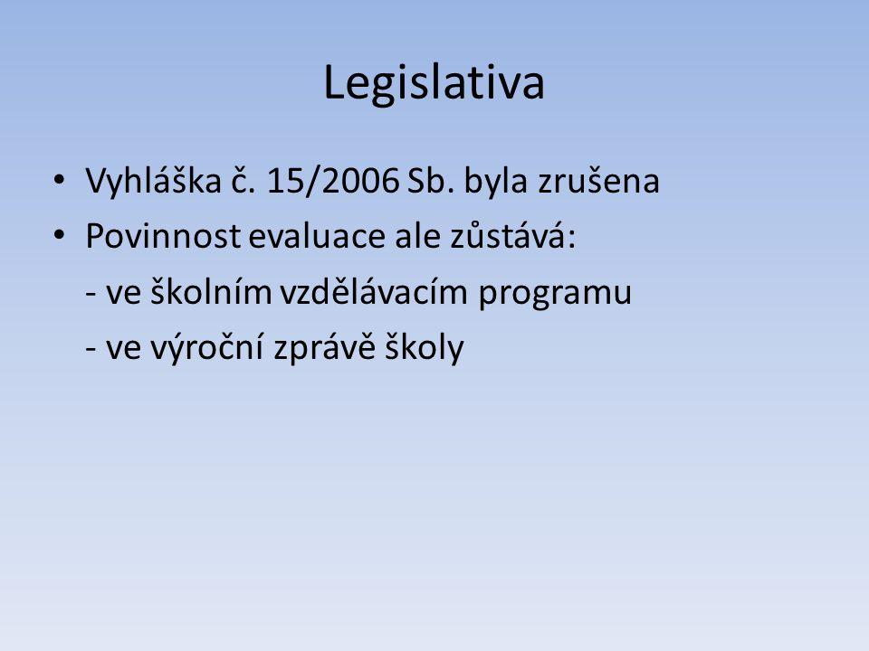 Legislativa • Vyhláška č. 15/2006 Sb. byla zrušena • Povinnost evaluace ale zůstává: - ve školním vzdělávacím programu - ve výroční zprávě školy