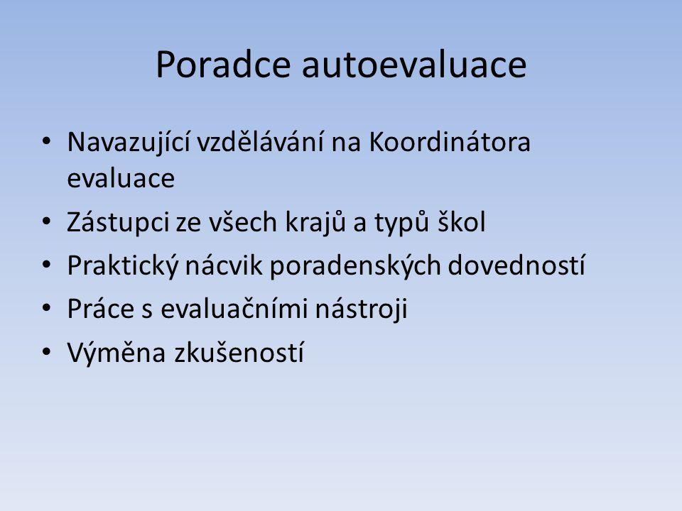 Poradce autoevaluace • Navazující vzdělávání na Koordinátora evaluace • Zástupci ze všech krajů a typů škol • Praktický nácvik poradenských dovedností