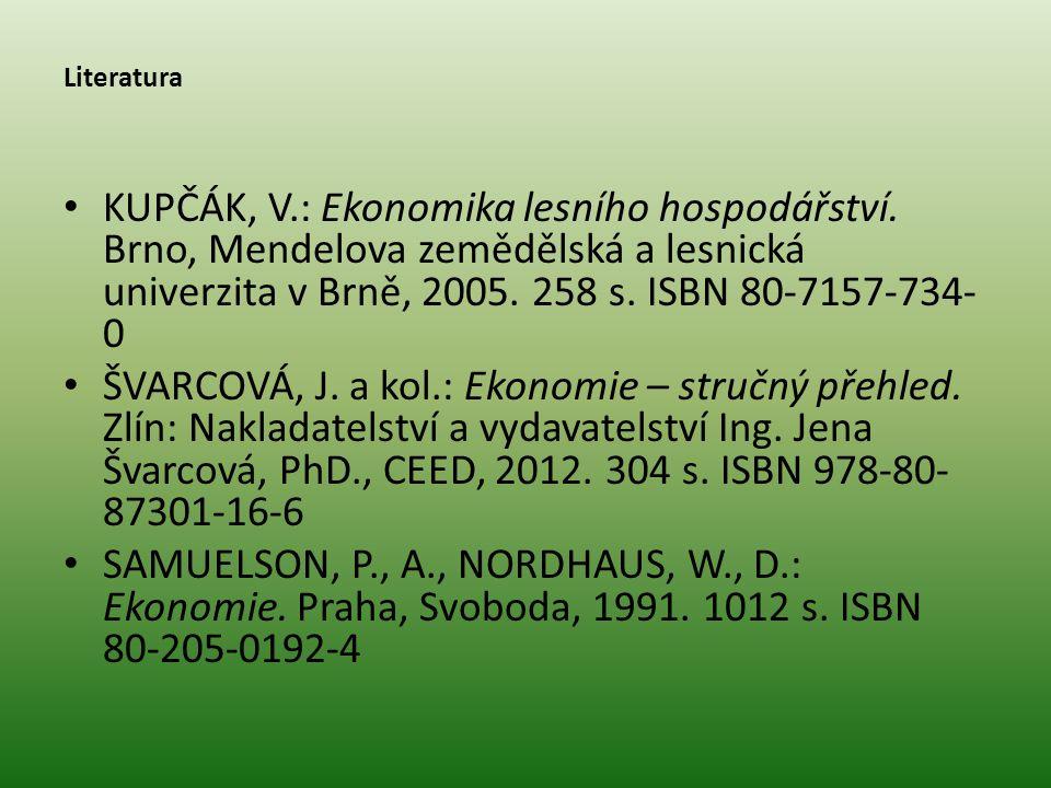Literatura • KUPČÁK, V.: Ekonomika lesního hospodářství. Brno, Mendelova zemědělská a lesnická univerzita v Brně, 2005. 258 s. ISBN 80-7157-734- 0 • Š