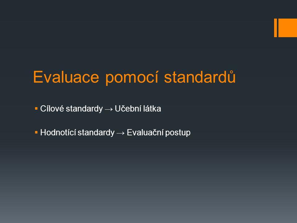 Evaluace pomocí standardů  Cílové standardy → Učební látka  Hodnotící standardy → Evaluační postup
