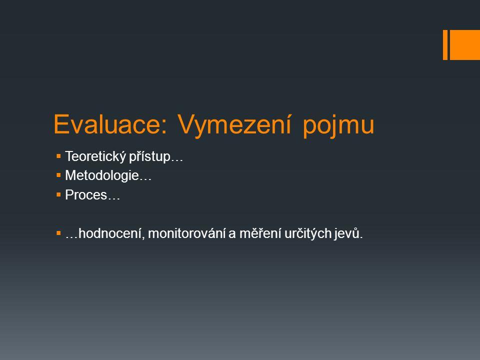 Evaluace: Vymezení pojmu  Teoretický přístup…  Metodologie…  Proces…  …hodnocení, monitorování a měření určitých jevů.