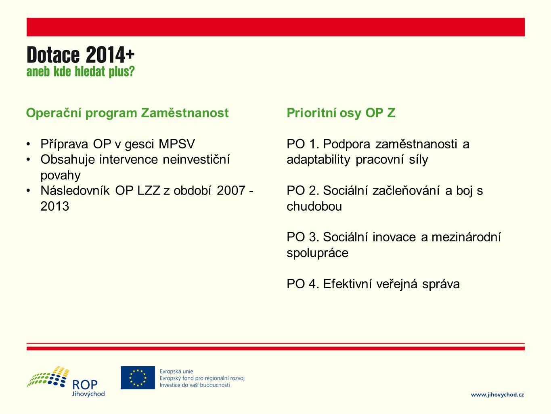 Operační program Zaměstnanost •Příprava OP v gesci MPSV •Obsahuje intervence neinvestiční povahy •Následovník OP LZZ z období 2007 - 2013 Prioritní os