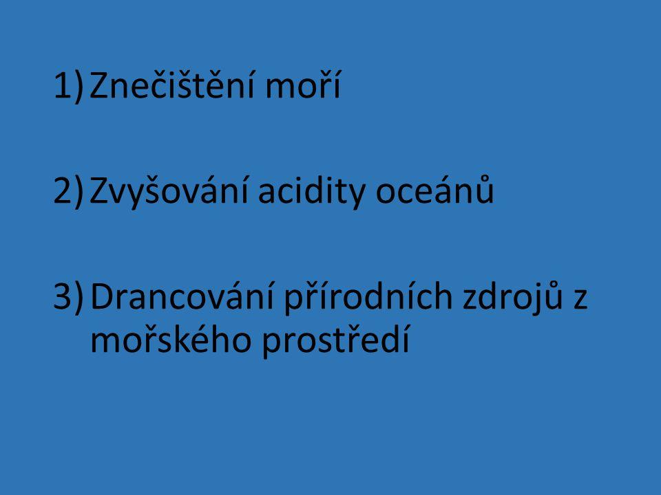 1)Znečištění moří 2)Zvyšování acidity oceánů 3)Drancování přírodních zdrojů z mořského prostředí