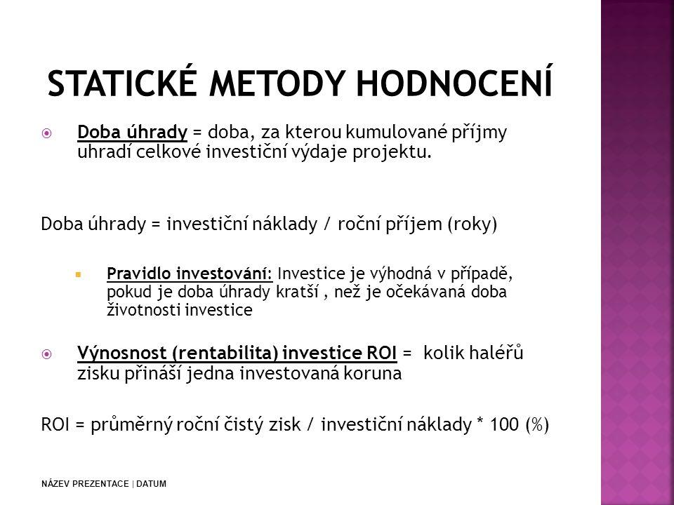 NÁZEV PREZENTACE | DATUM  Doba úhrady = doba, za kterou kumulované příjmy uhradí celkové investiční výdaje projektu.