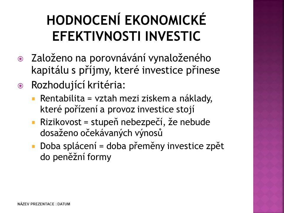 NÁZEV PREZENTACE | DATUM  Založeno na porovnávání vynaloženého kapitálu s příjmy, které investice přinese  Rozhodující kritéria:  Rentabilita = vztah mezi ziskem a náklady, které pořízení a provoz investice stojí  Rizikovost = stupeň nebezpečí, že nebude dosaženo očekávaných výnosů  Doba splácení = doba přeměny investice zpět do peněžní formy