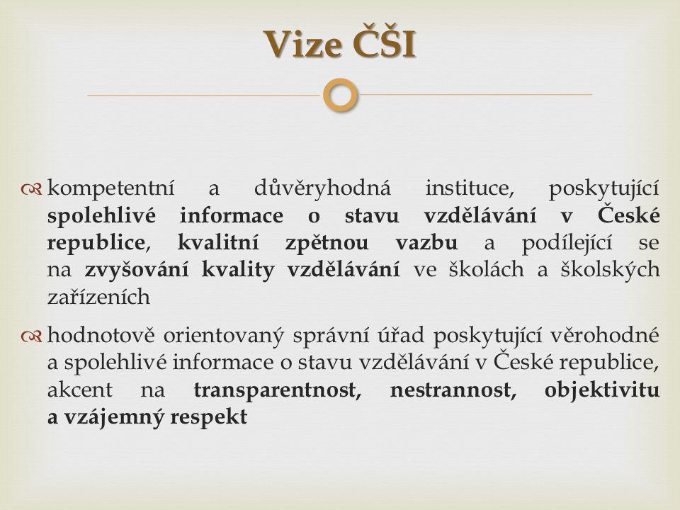 Vize ČŠI  kompetentní a důvěryhodná instituce, poskytující spolehlivé informace o stavu vzdělávání v České republice, kvalitní zpětnou vazbu a podíle