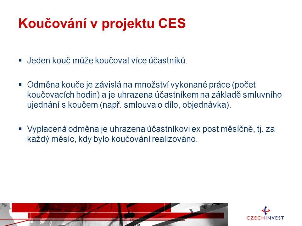 Koučování v projektu CES  Jeden kouč může koučovat více účastníků.  Odměna kouče je závislá na množství vykonané práce (počet koučovacích hodin) a j