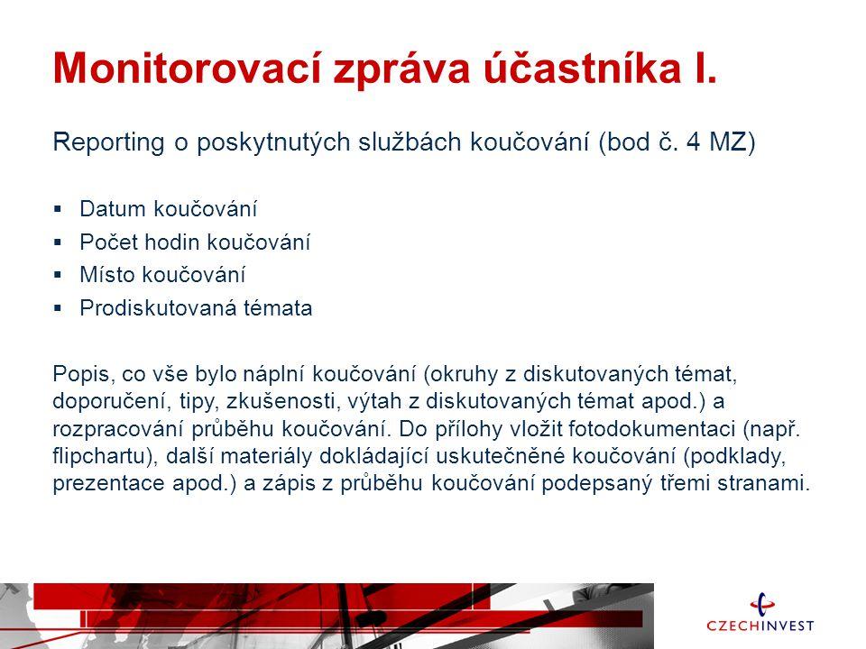 Monitorovací zpráva účastníka I.Reporting o poskytnutých službách koučování (bod č.