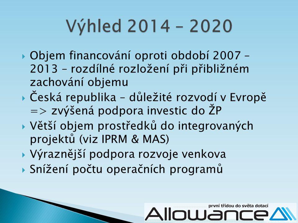  Objem financování oproti období 2007 – 2013 – rozdílné rozložení při přibližném zachování objemu  Česká republika – důležité rozvodí v Evropě => zvýšená podpora investic do ŽP  Větší objem prostředků do integrovaných projektů (viz IPRM & MAS)  Výraznější podpora rozvoje venkova  Snížení počtu operačních programů