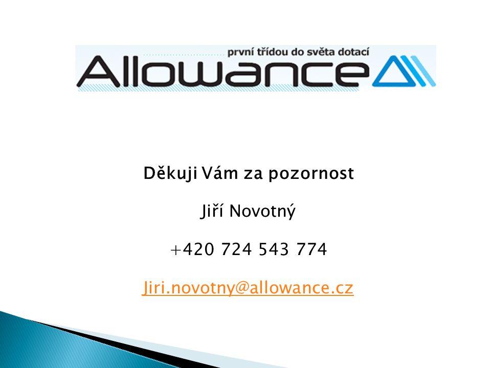 Děkuji Vám za pozornost Jiří Novotný +420 724 543 774 Jiri.novotny@allowance.cz