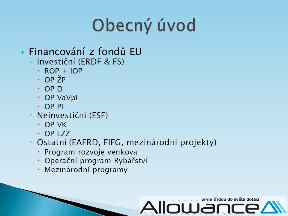  Financování z fondů EU ◦ Investiční (ERDF & FS)  ROP + IOP  OP ŽP  OP D  OP VaVpI  OP PI ◦ Neinvestiční (ESF)  OP VK  OP LZZ ◦ Ostatní (EAFRD, FIFG, mezinárodní projekty)  Program rozvoje venkova  Operační program Rybářství  Mezinárodní programy