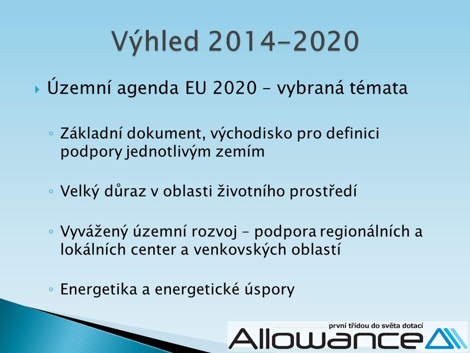  Územní agenda EU 2020 – vybraná témata ◦ Základní dokument, východisko pro definici podpory jednotlivým zemím ◦ Velký důraz v oblasti životního prostředí ◦ Vyvážený územní rozvoj – podpora regionálních a lokálních center a venkovských oblastí ◦ Energetika a energetické úspory