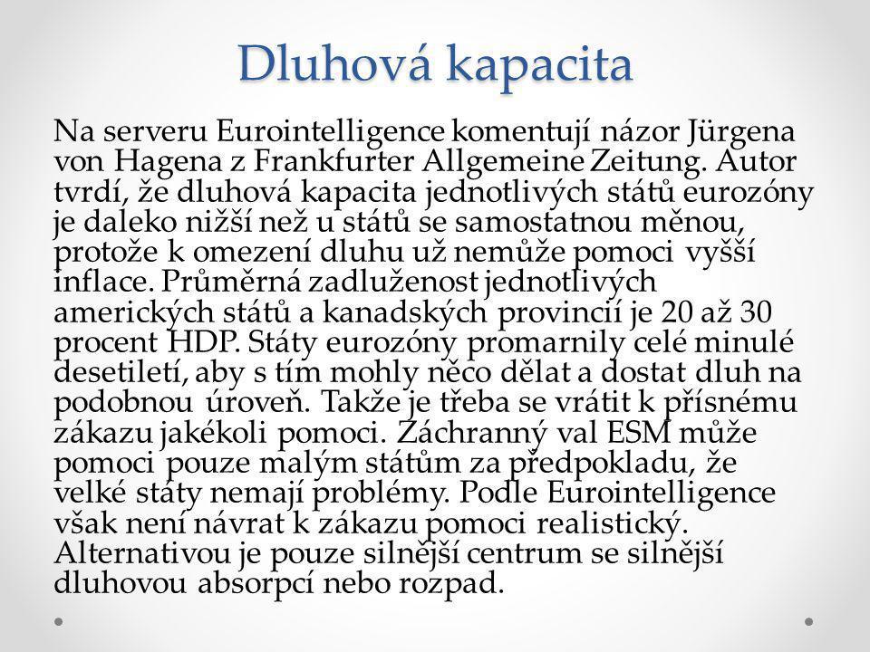 Dluhová kapacita Na serveru Eurointelligence komentují názor Jürgena von Hagena z Frankfurter Allgemeine Zeitung.