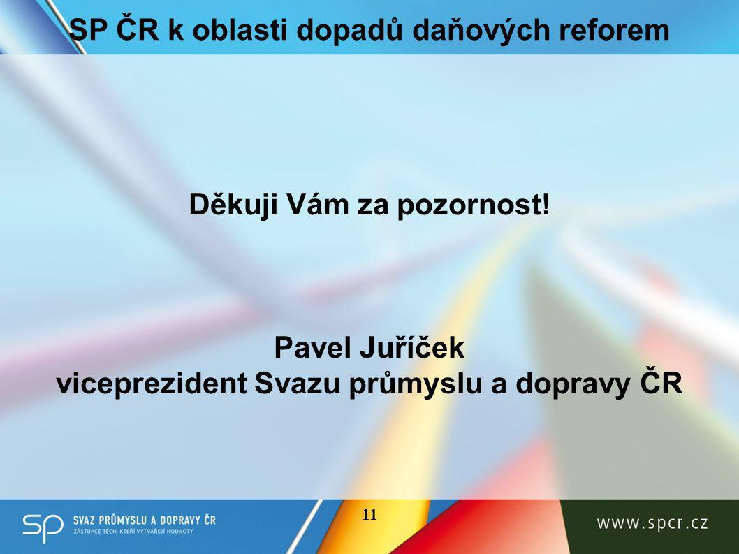 11 SP ČR k oblasti dopadů daňových reforem Děkuji Vám za pozornost.