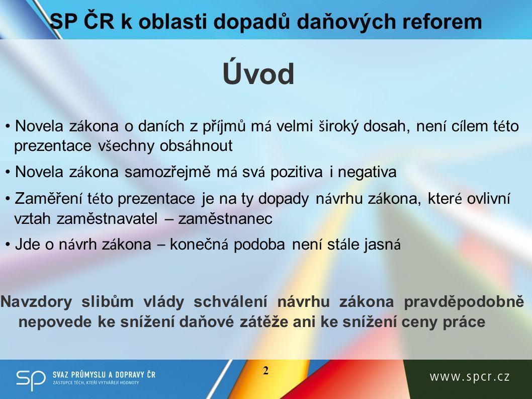 Příklad z oblasti dopadů 3 SP ČR k oblasti dopadů daňových reforem 1.Stravov á n í poskytovan é zaměstnavateli svým zaměstnancům