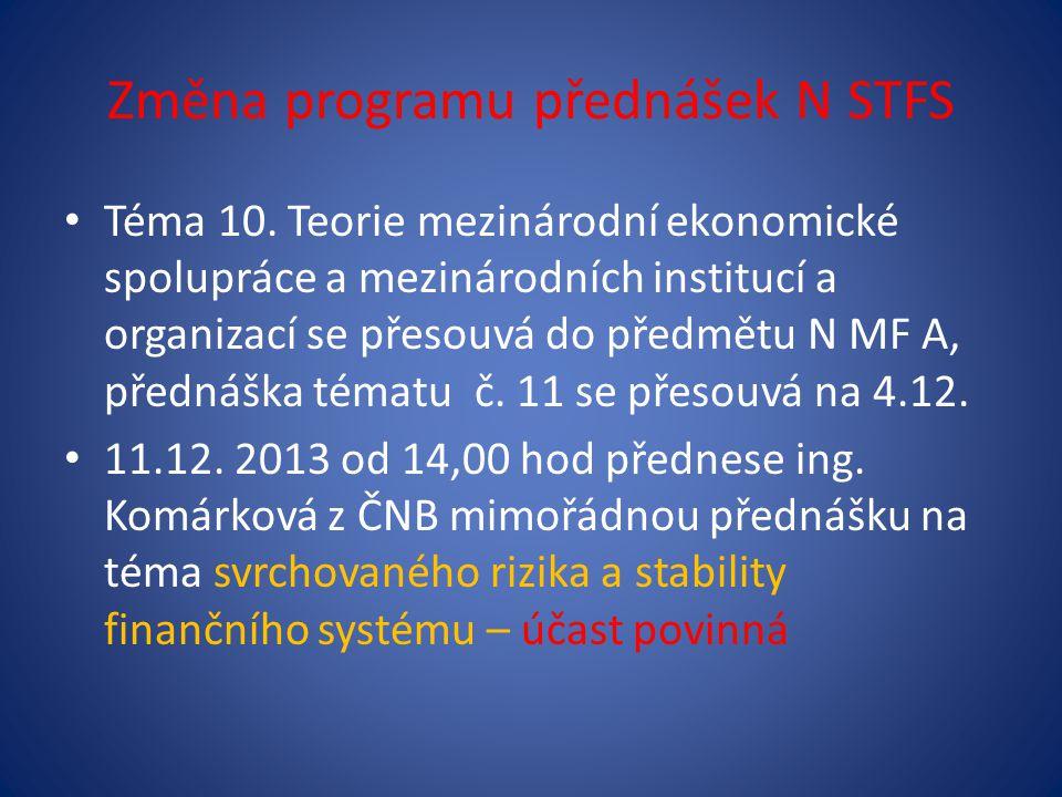 Změna programu přednášek N STFS • Téma 10. Teorie mezinárodní ekonomické spolupráce a mezinárodních institucí a organizací se přesouvá do předmětu N M