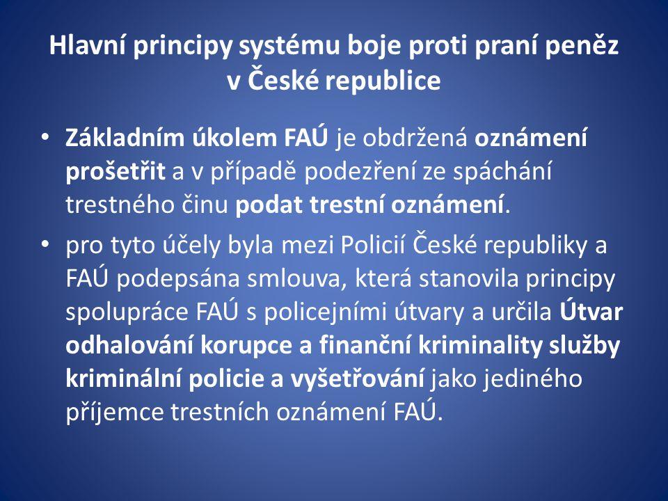 Hlavní principy systému boje proti praní peněz v České republice • Základním úkolem FAÚ je obdržená oznámení prošetřit a v případě podezření ze spáchá