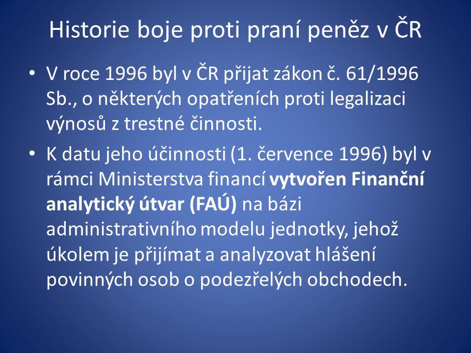 Historie boje proti praní peněz v ČR • V roce 1996 byl v ČR přijat zákon č. 61/1996 Sb., o některých opatřeních proti legalizaci výnosů z trestné činn