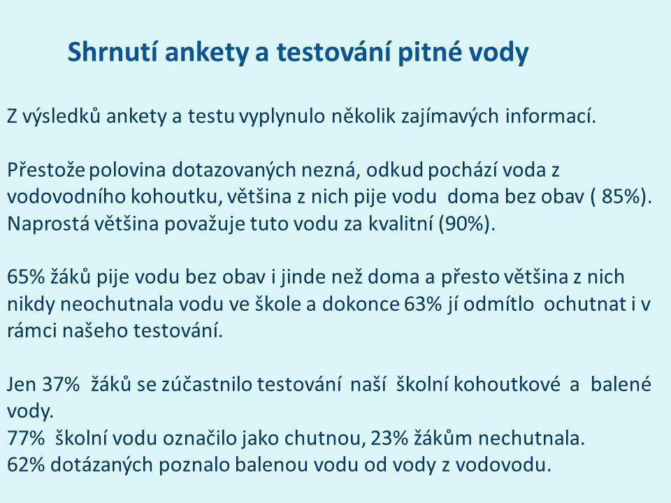 Z výsledků ankety a testu vyplynulo několik zajímavých informací. Přestože polovina dotazovaných nezná, odkud pochází voda z vodovodního kohoutku, vět