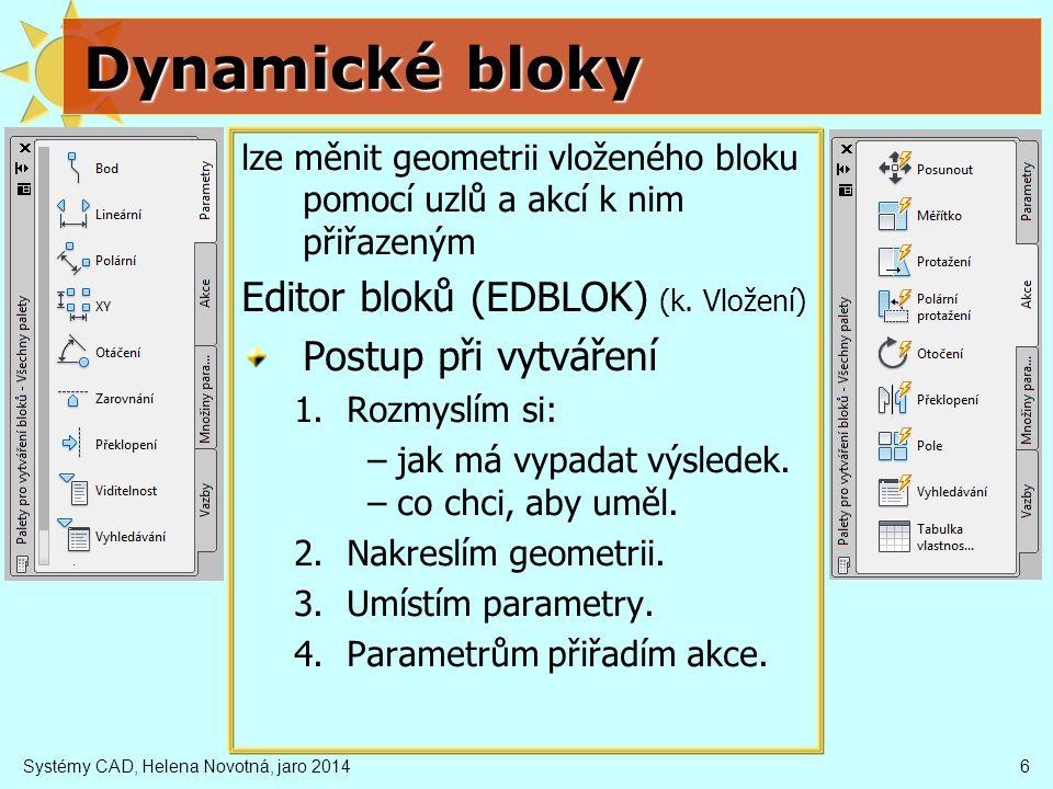 Systémy CAD, Helena Novotná, jaro 20146 Dynamické bloky lze měnit geometrii vloženého bloku pomocí uzlů a akcí k nim přiřazeným Editor bloků (EDBLOK)