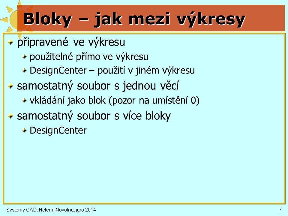 Systémy CAD, Helena Novotná, jaro 20147 Bloky – jak mezi výkresy připravené ve výkresu použitelné přímo ve výkresu DesignCenter – použití v jiném výkr