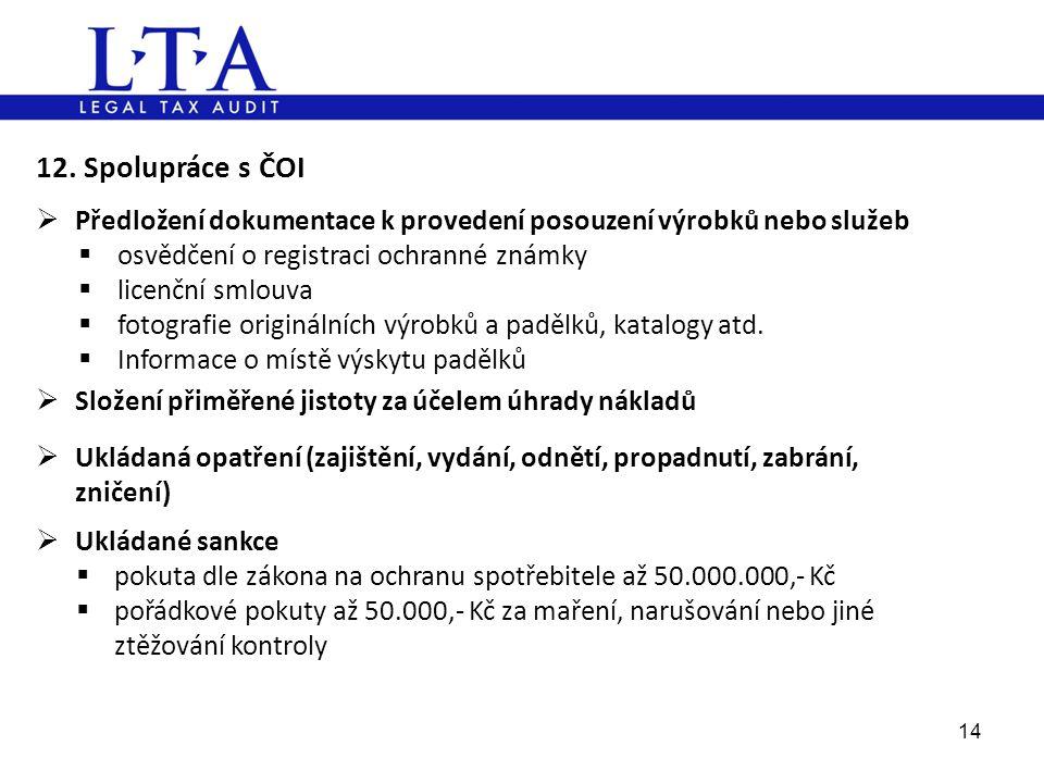 14 12. Spolupráce s ČOI  Předložení dokumentace k provedení posouzení výrobků nebo služeb  osvědčení o registraci ochranné známky  licenční smlouva