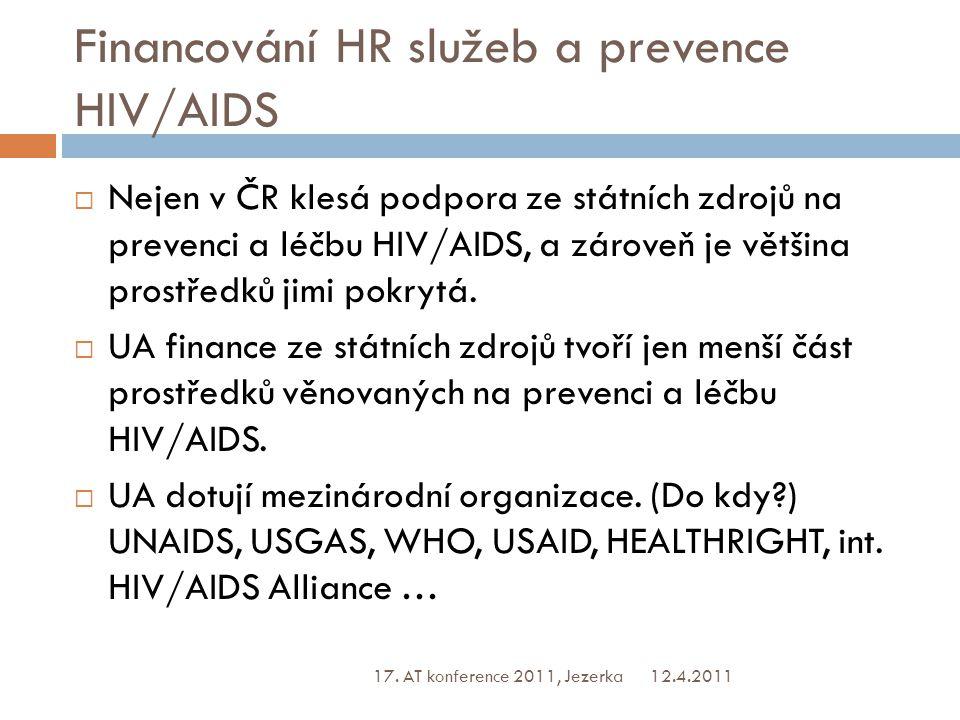 Financování HR služeb a prevence HIV/AIDS  Nejen v ČR klesá podpora ze státních zdrojů na prevenci a léčbu HIV/AIDS, a zároveň je většina prostředků jimi pokrytá.