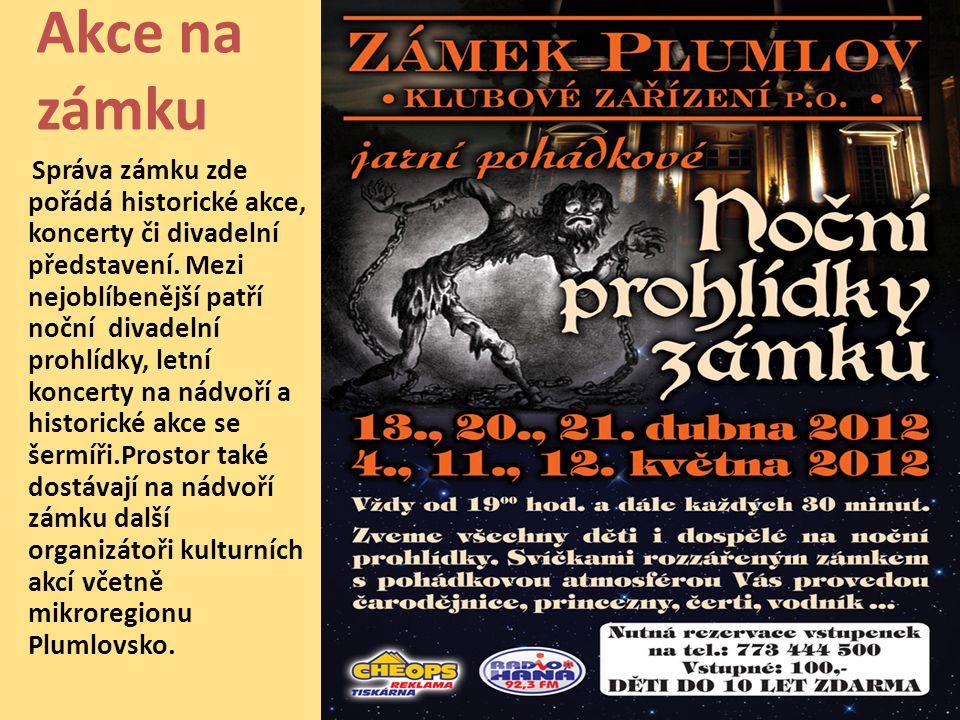 Akce na zámku Správa zámku zde pořádá historické akce, koncerty či divadelní představení.