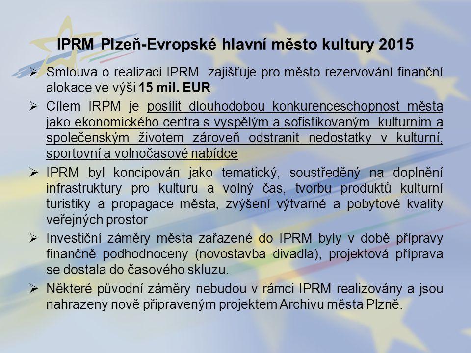  Smlouva o realizaci IPRM zajišťuje pro město rezervování finanční alokace ve výši 15 mil. EUR  Cílem IRPM je posílit dlouhodobou konkurenceschopnos