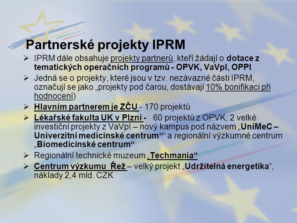 Partnerské projekty IPRM  IPRM dále obsahuje projekty partnerů, kteří žádají o dotace z tematických operačních programů - OPVK, VaVpI, OPPI  Jedná s