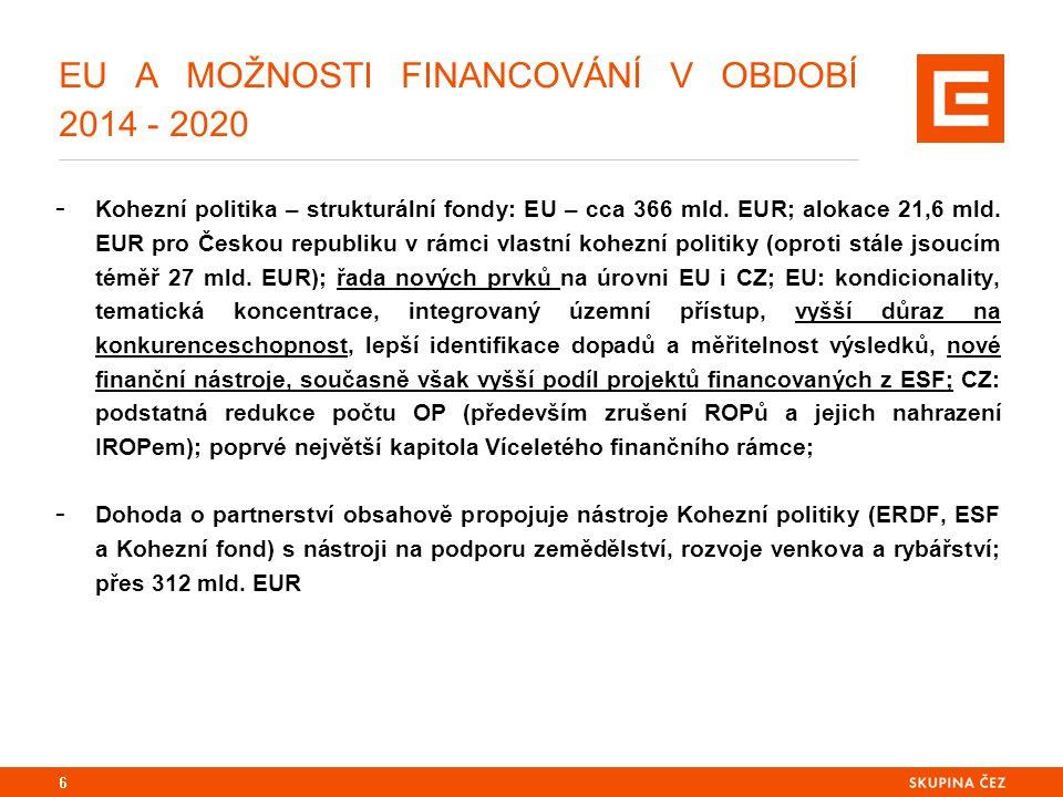 EU A MOŽNOSTI FINANCOVÁNÍ V OBDOBÍ 2014 - 2020 - Základní strategický dokument pro využívání významné části prostředků Víceletého finančního rámce 2014 – 2020 v podmínkách České republiky (stejný nástroj využívají samozřejmě i ostatní členské státy); - Měl by být nástrojem pro rozvoj priorit každé jednotlivé členské země EU, jež jsou kompatibilní s pravidly, danými nařízeními o využívání jednotlivých fondů a obecným nařízením; měla by tedy na jedné straně reflektovat sadu klíčových, přirozených priorit v našem případě České republiky, přizpůsobených možnostem financování a podpory ze zdrojů EU; - V období specifickém (2014 = 10 let od našeho vstupu do EU, neutěšený stav nerostoucí české ekonomiky, potřeba nalézání efektivních stimulů jejího oživování, atd.) by Dohoda o partnerství měla současně znamenat i primární strategickou rozvojovou doktrínu České republiky se všemi svými náležitostmi: důslednou strategickou analýzou, vyúsťující ve SWOT, na ni navazující výčet národních rozvojových priorit, formulace cílů jak s těmito prioritami naložit a jaké jsou jejich hodnoty na konci sledovaného období (2020), nástroje jejich dosažení, finanční alokace, management obsahu Dohody, implementace, kontrola, zpětná vazba, ukazatele, jimiž budeme měřit její (ne)úspěšnost 7