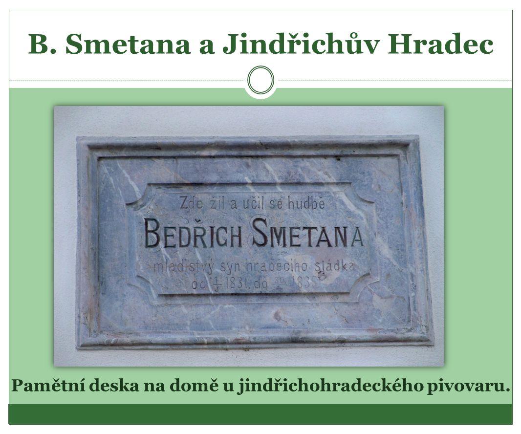 B. Smetana a Jindřichův Hradec Pamětní deska na domě u jindřichohradeckého pivovaru.