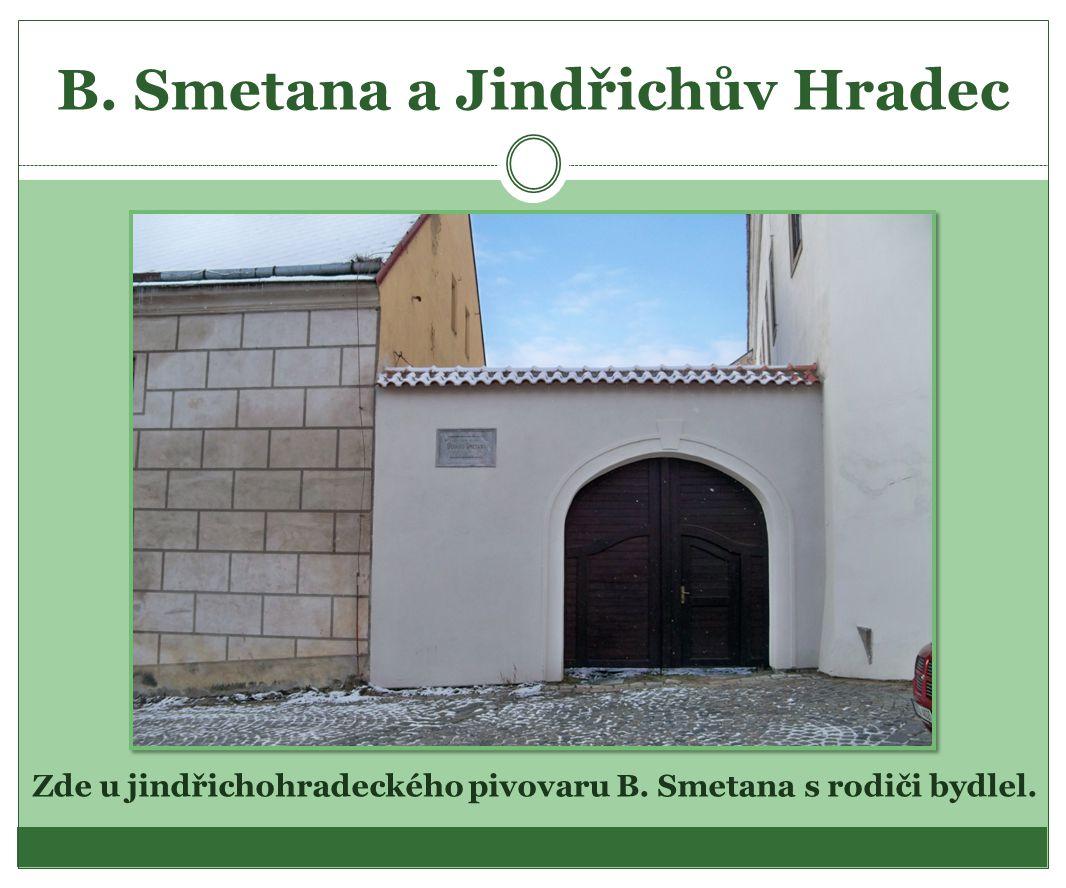 B. Smetana a Jindřichův Hradec Zde u jindřichohradeckého pivovaru B. Smetana s rodiči bydlel.