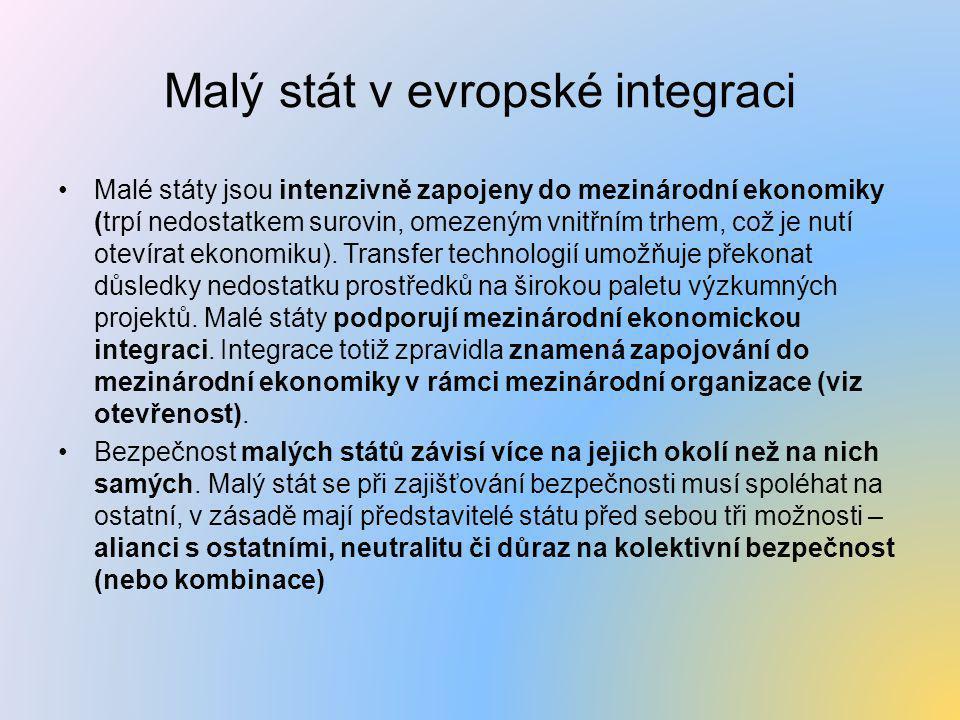 Malý stát v evropské integraci •Malé státy jsou intenzivně zapojeny do mezinárodní ekonomiky (trpí nedostatkem surovin, omezeným vnitřním trhem, což j