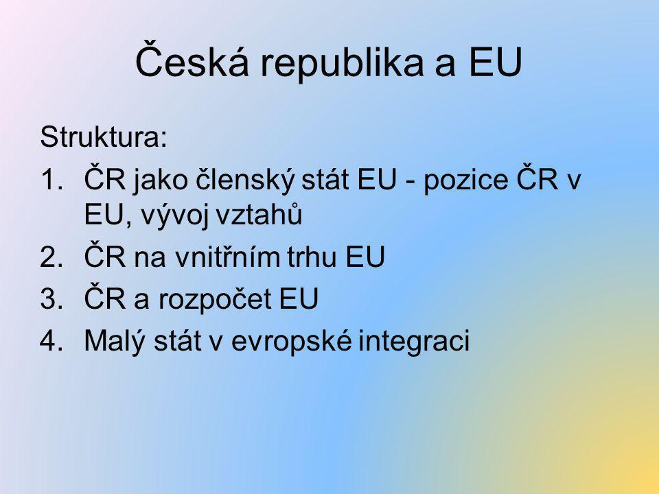 Česká republika a EU Struktura: 1.ČR jako členský stát EU - pozice ČR v EU, vývoj vztahů 2.ČR na vnitřním trhu EU 3.ČR a rozpočet EU 4.Malý stát v evr