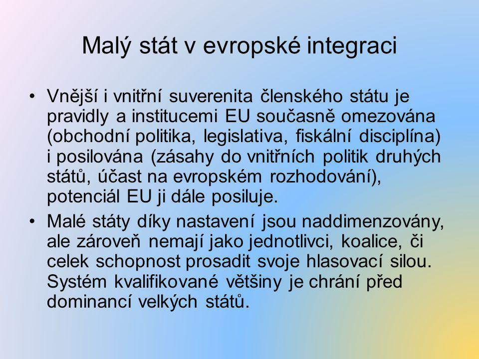 Malý stát v evropské integraci •Vnější i vnitřní suverenita členského státu je pravidly a institucemi EU současně omezována (obchodní politika, legisl