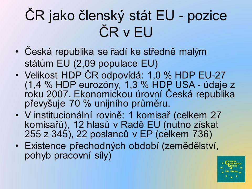 ČR jako členský stát EU - pozice ČR v EU •Česká republika se řadí ke středně malým státům EU (2,09 populace EU) •Velikost HDP ČR odpovídá: 1,0 % HDP E