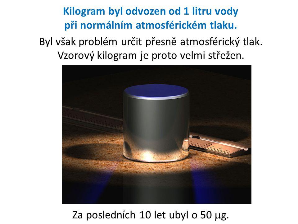 Kilogram byl odvozen od 1 litru vody při normálním atmosférickém tlaku. Byl však problém určit přesně atmosférický tlak. Vzorový kilogram je proto vel