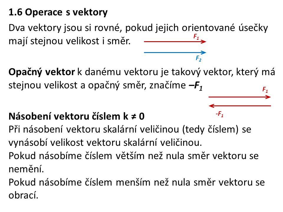 1.6 Operace s vektory Dva vektory jsou si rovné, pokud jejich orientované úsečky mají stejnou velikost i směr. Opačný vektor k danému vektoru je takov