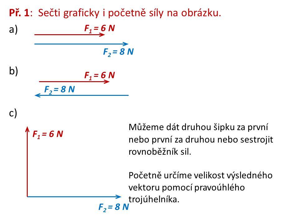 Př. 1: Sečti graficky i početně síly na obrázku. a) b) c) Můžeme dát druhou šipku za první nebo první za druhou nebo sestrojit rovnoběžník sil. Početn