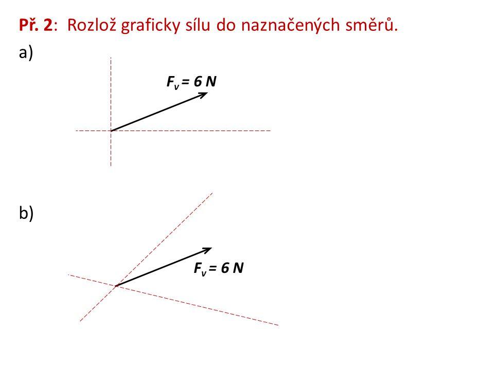 Př. 2: Rozlož graficky sílu do naznačených směrů. a) b) F v = 6 N