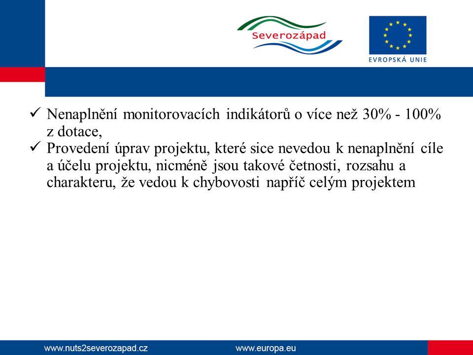  Nenaplnění monitorovacích indikátorů o více než 30% - 100% z dotace,  Provedení úprav projektu, které sice nevedou k nenaplnění cíle a účelu projek