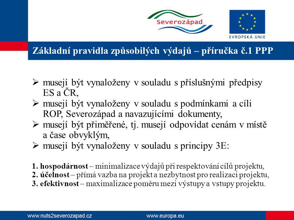 Základní pravidla způsobilých výdajů – příručka č.1 PPP  musejí být vynaloženy v souladu s příslušnými předpisy ES a ČR,  musejí být vynaloženy v souladu s podmínkami a cíli ROP, Severozápad a navazujícími dokumenty,  musejí být přiměřené, tj.