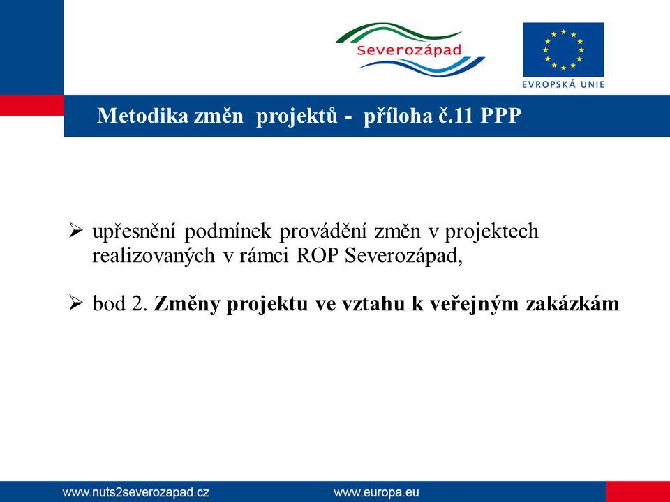 Metodika změn projektů - příloha č.11 PPP  upřesnění podmínek provádění změn v projektech realizovaných v rámci ROP Severozápad,  bod 2. Změny proje
